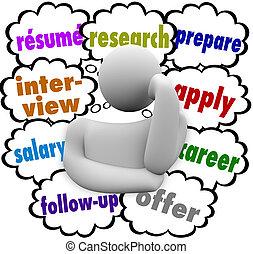 探求, 履歴書, プロセス, 考え, 仕事, 言葉, インタビュー, 適用されなさい, 雲