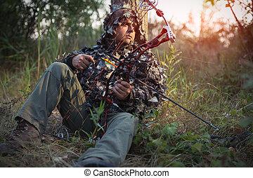 探求, 現代, ハンター, 弓, 森林, 矢