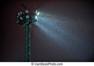 探照燈, 以及, 夜晚, 降雪