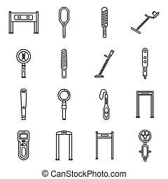 探知器, アイコン, スタイル, アウトライン, セット, 金属, 警報