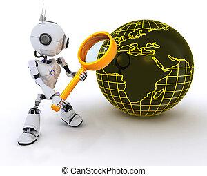 探索, ガラス, 拡大する, ロボット