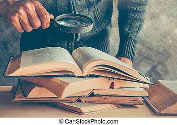 探索, 手, ガラス, 間, 保有物, information., 拡大する