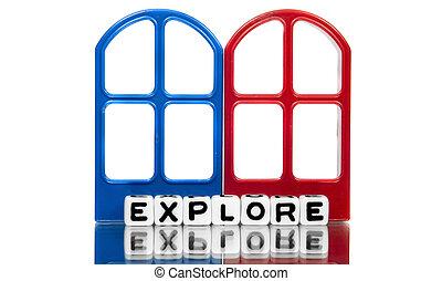 探索, 正文, 上, 紅色, 以及藍色, 框架