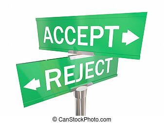 接受, 或者, 拒絕, 二 方式, 路標, 批准, vs, 否認, 3d, 插圖