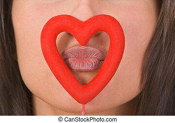 接吻, によって, 心