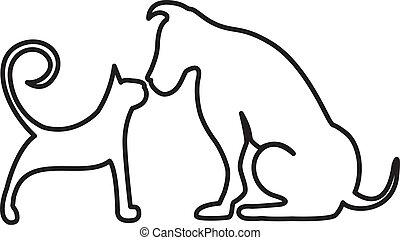 接吻, ねこ, 犬, ロゴ