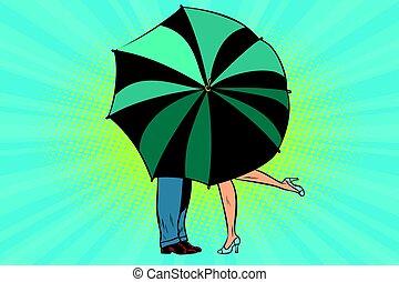 接吻, の後ろ, 女, 傘, 人