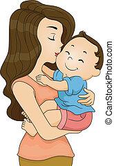 接吻, よちよち歩きの子, 母, 男の子