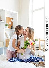 接吻, 女の子, お母さん