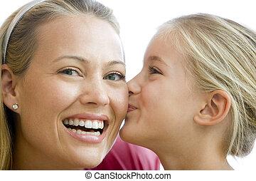接吻, 女の子, 女, 若い, 微笑
