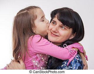 接吻, 女の子, 彼女, 母