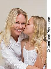 接吻, 女の子, 頬, 母