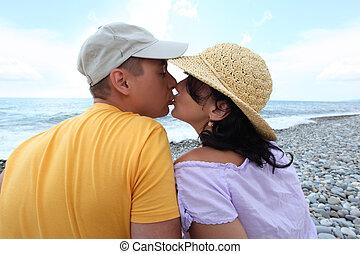 接吻, 対, 上に, 浜