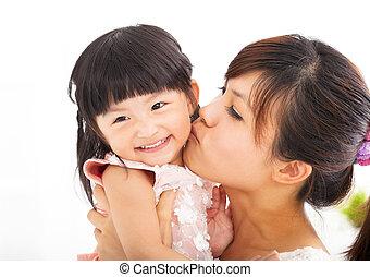 接吻, 幸せ, 娘, 彼女, 母