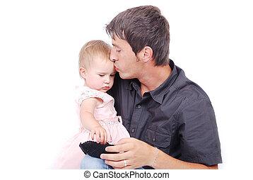 接吻, 彼の, 父, 娘