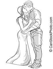接吻, 恋人, ロマンチック, 図画