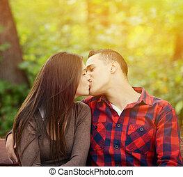 接吻, 恋人, 公園のベンチ