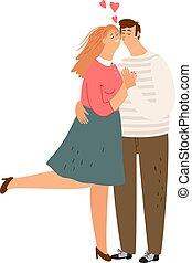 接吻, 恋人, 幸せ