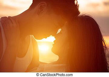 接吻, 恋人, 浜, 日没, 若い