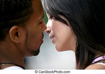 接吻, 恋人, 若い