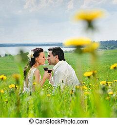 接吻, 恋人, 草, 結婚式