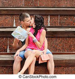 接吻, 恋人, 観光客