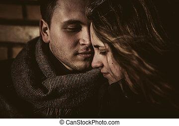 接吻, 愛, 恋人, 持つこと, fun., 幸せ, outdoors., 冬, 若い, 公園, 家族