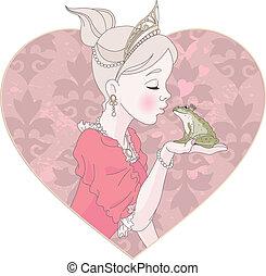 接吻, 王女, カエル