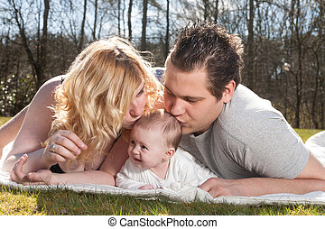 接吻, 若い, 赤ん坊, 親