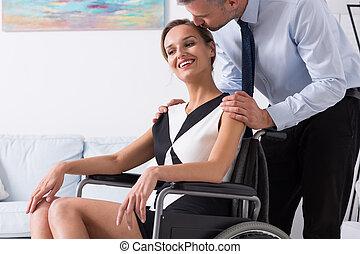 接吻, 車椅子, 女性, 人