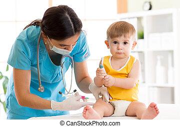 接種, 嬰孩, 注射, 孩子, 醫生