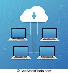 接続される, イラスト, のように, smartphone, concept., cloud., 雲, 計算, ラップトップ, ベクトル, 様々, 装置