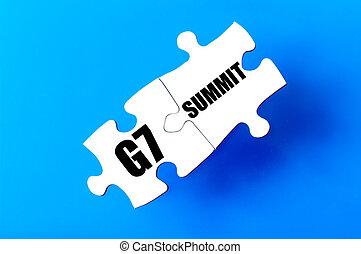 接続される, パズル小片, ∥で∥, 言葉, g7, そして, サミット