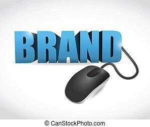 接続される, ブランド, mouse., 単語, イラスト
