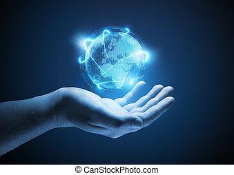 接続される, 世界