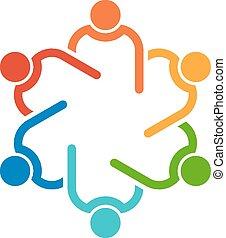 接続される, 人々, 他。, チームワーク, interlaced., 6, 助力, アイコン, 円, ベクトル, グループ, 概念, それぞれ