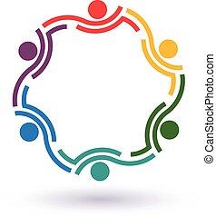 接続される, summit., 人々, 他。, チームワーク, 6, 助力, アイコン, 円, ベクトル, グループ, 概念, それぞれ