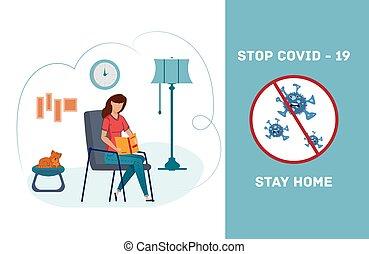 接続, オンラインで, 家, quarantine., 相談, の間, 滞在, 医者。, coronarusom., 検疫, あなたの