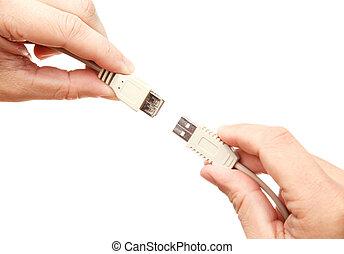 接続, ケーブル, usb, 手
