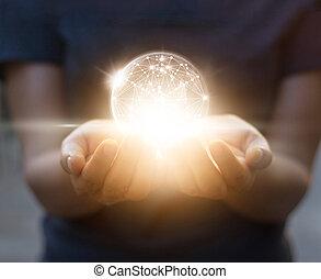接続, ネットワーク, 円, 世界的である, 背景, 手, 抽象的, 暗い, 科学