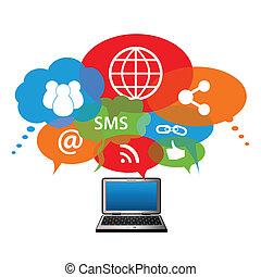 接続, ネットワーク, 社会