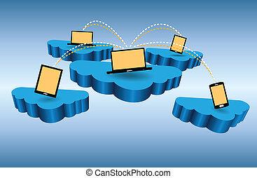 接続, ネットワーク, 雲