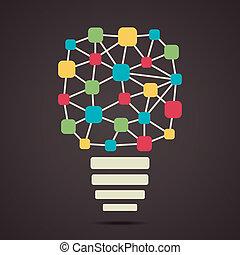 接続, ノード, 作りなさい, カラフルである, 電球