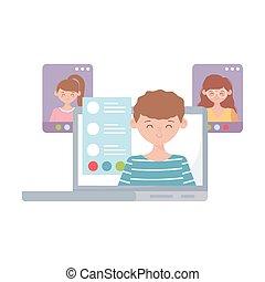 接続, ラップトップ, 網, オンラインで, 家, 生徒, 滞在, 勉強