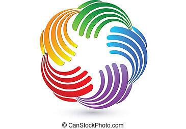 接続, ロゴ, カラフルである, 手