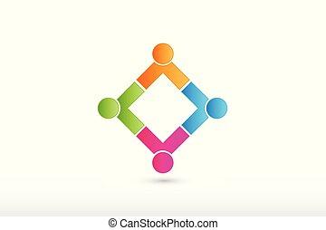 接続, ロゴ, パートナー, チーム