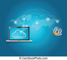 接続, 世界的である, コンピュータ, オンラインで