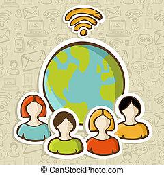 接続, 世界的である, 多様性, インターネット, 人々