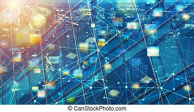 接続, 共有, 速い, 背景, 抽象的, 技術, 効果