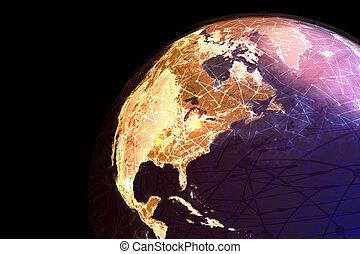 接続, 地球, オンラインで, 提示, インターネット